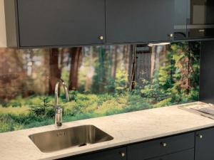 Med ett eget motiv eller bild printad på glas kan man skapa ett unikt och personligt kök